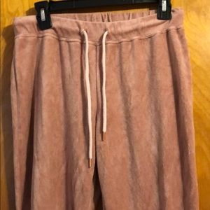 H & M Crushed Velvet Pink Jogger Pants Pink Small